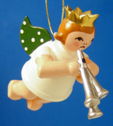 Silver Tri Horn Angel Christmas Ornament