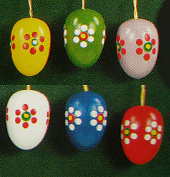 Six Colorful Blooming Eggs Ornaments