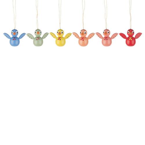 Six Colorful Chicks Ornaments Set