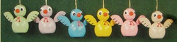 Six Colorful Chicks Ornaments Set