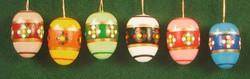 Six Colorful Eggs Gold Stripes Ornaments Set
