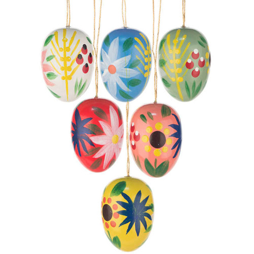 Six Colorful Flowery Eggs Ornaments