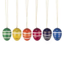 Six Colorful Glistening Eggs German Ornaments