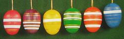 Six Colorful Glistening Eggs Ornaments
