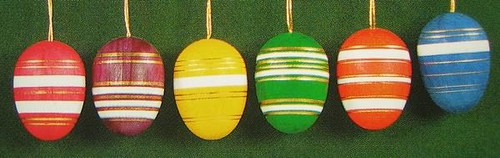 Six Colorful Glistening Eggs Ornaments