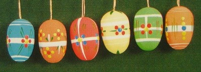 Six Colorful Matte Eggs Ornaments