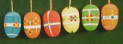 Six Colorful Matte Eggs Ornaments