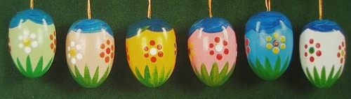 Six Colorful Meadows Eggs Ornaments