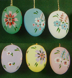 Six Colorful Pastel Eggs Ornaments