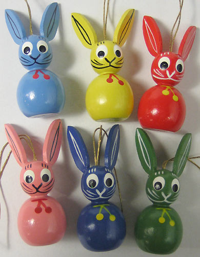 Six Colorful Rabbits Ornament