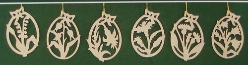 Six Cut Out Flowers Egg Frame Ornaments