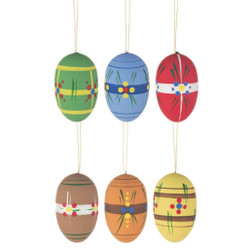 Six Earth Tone Matte Eggs German Ornaments ORD224X206