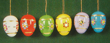 Six Egg Ornaments Gold Highlights