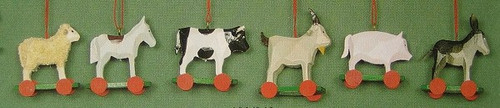 Six Farm Animals Wheels Ornaments