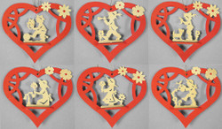 Six Flower Children Heart Ornament