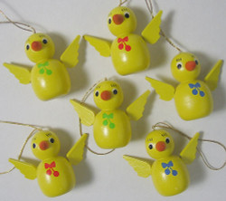 Six Hanging Chicks Ornaments