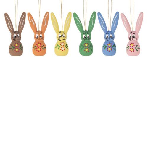 Six Pastel Wooden Rabbits Ornament