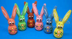 Six Pastel Wooden Rabbits Ornament