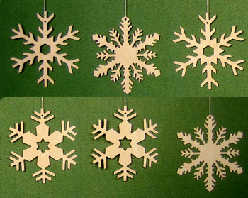 Six Snowflakes Exquisite Natural Ornaments