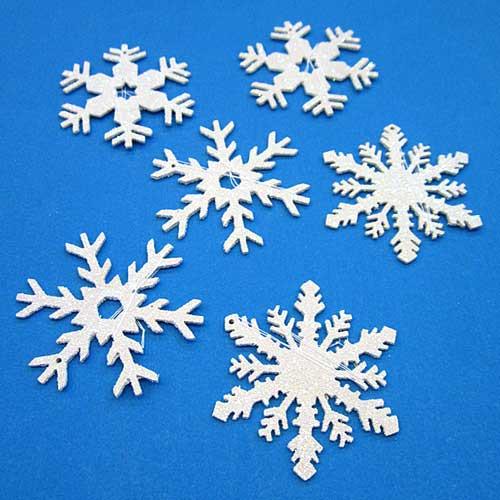 Six Snowflakes Glittering White Ornaments