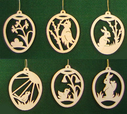 Six Spring Scene Egg Frame Ornaments