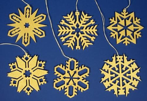 Snowflakes Six Crystals Ornaments