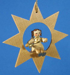 Star Angel French Horn Christmas Ornament