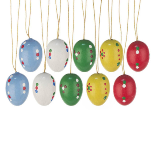 Ten Colorful Dotted Eggs German Ornaments ORD224X012