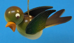 Wooden Green Bird Ornament