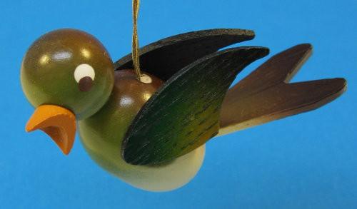 Wooden Green Bird Ornament