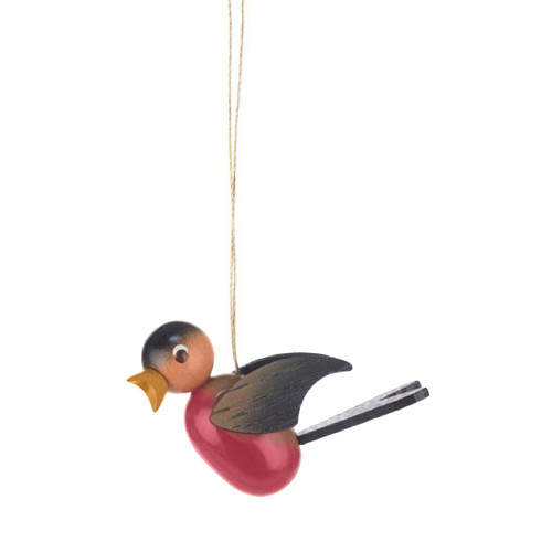 Wooden Red Bird Ornament German