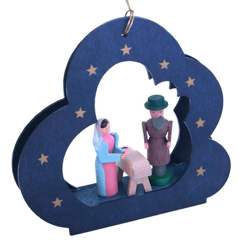 Holy Family Blue Cloud German Ornament ORR134X03
