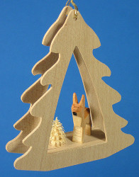 Deer Tree Frame German Christmas Ornament