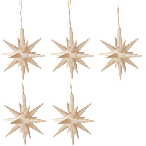 Five Natural Pointy Stars German Ornaments ORD199X235N