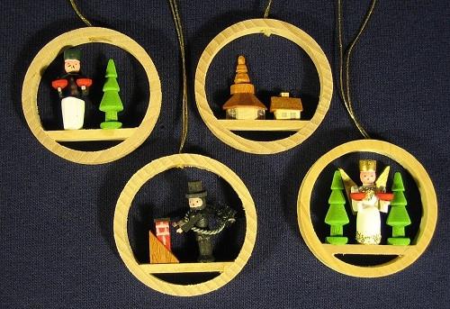 Four Miniature Ring Ornaments Set three