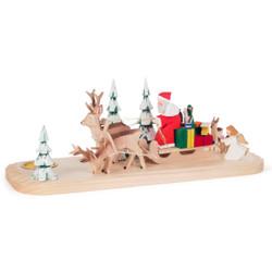 Hand Carved Santa Sled Candleholder