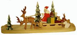 Handcarved Santa Sled Candleholder