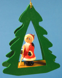 Santa Tree Frame German Christmas Ornament