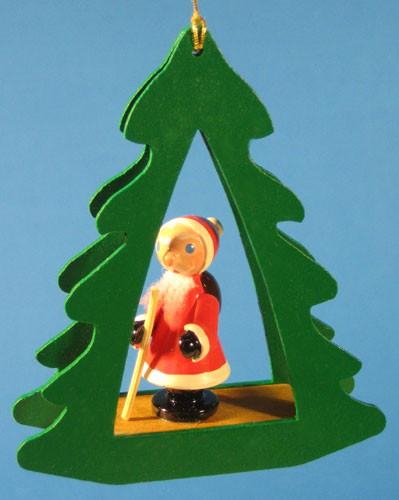 Santa Tree Frame German Christmas Ornament