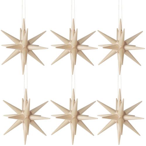 Six Natural Wood Pointy Stars German Ornaments ORD199X007N