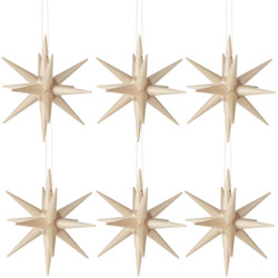 Six Natural Wood Pointy Stars German Ornaments ORD199X007N