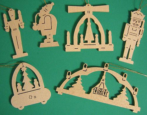 Six Wooden Scene Christmas Ornaments