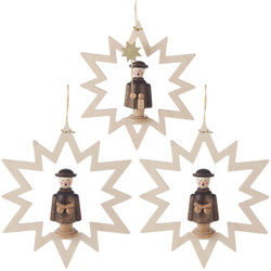 Three Carolers Star Ornaments