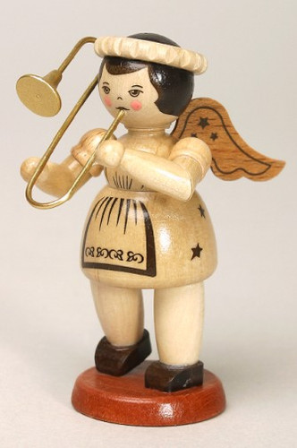 Natural Angel Playing Long Horn Post