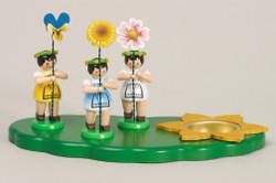 Three Flower Children Candleholder