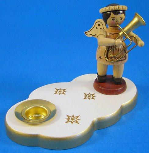 White Angel Candleholder Tuba Horn