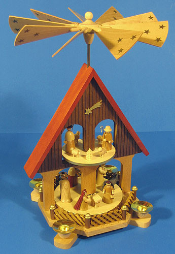 2 Level House Nativity German Pyramid