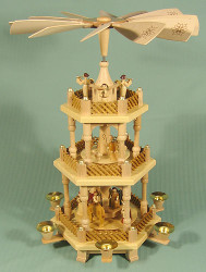 3 Level Nativity Christmas Carousel Pyramid
