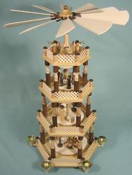 4 Level Palm Nativity Christmas Pyramid