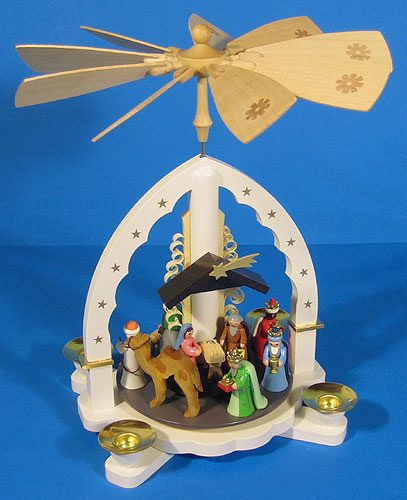 Christmas Carousel German Pyramid White